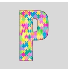 Color piece puzzle jigsaw letter - p vector