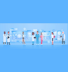 Diverse doctors group use virtual computer screen vector