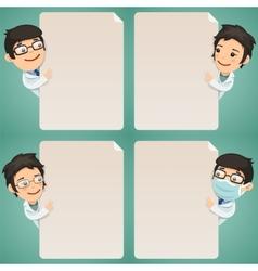 Doctors Cartoon Characters Looking at Blank Poster vector image vector image