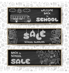 Doodle Back to School sale banners vector image