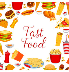 fast food restaurant meal frame poster design vector image