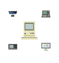 Flat icon laptop set of vintage hardware display vector