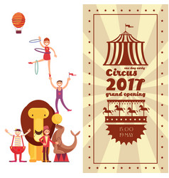 fun fair carnival and circus vintage poster vector image vector image