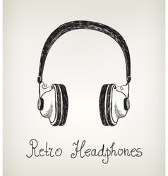 hand drawn retro headphones earphones isolated vector image vector image
