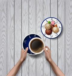 Hands holding cup of coffee break vector