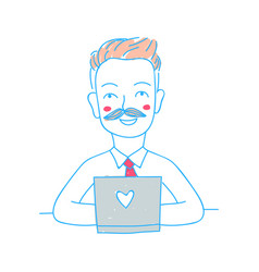 happy businessman with laptop doodle style vector image