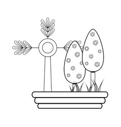 Line nice trees with flowers and plant with vector