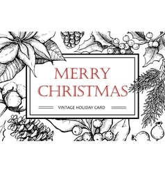 Merry christmas hand drawn vintage vector