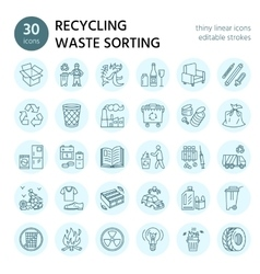 Modern line icon of waste sorting vector