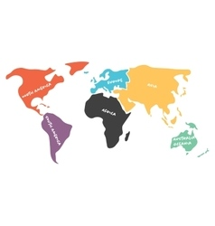 Multicolored simplified world map divided to vector