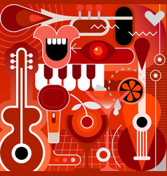 musical instruments and cocktails vector image vector image