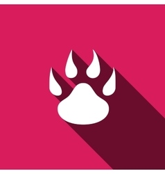 Paw icon with long shadow vector image