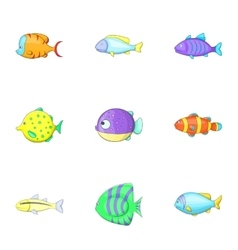 Sea life icons set cartoon style vector image vector image
