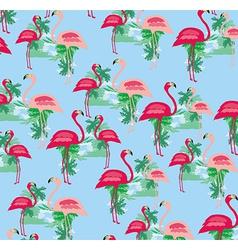 seamless flamingo bird pattern vector image