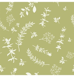 Seamless With Herbs Silhouettes vector image vector image