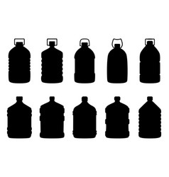 Set of silhouettes of big water bottles vector