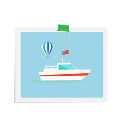 ship on isolated image attached by green binder vector image vector image