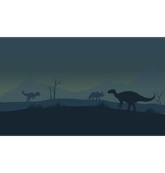 Silhouette of iguanodon in fields vector