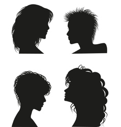 Silhouettes of women hairstyles vector