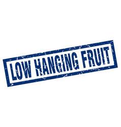 Square grunge blue low hanging fruit stamp vector
