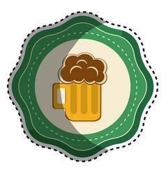 Sticker foam beer glass drink celebration vector