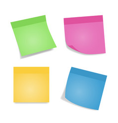 sticky notes four colorful sheets of note papers vector image