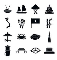 Vietnam travel icons set simple style vector