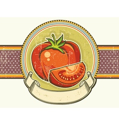 Vintage red tomatos label on old paper background vector image