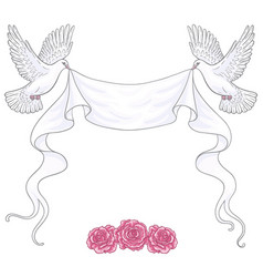 white flying doves ribbon and roses vector image