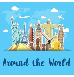 World landmarks sticker icons set vector