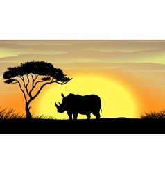 Rhinoceros under a tree vector image