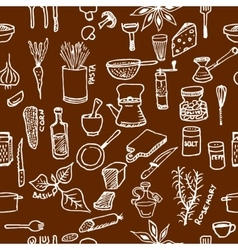 Seamless pattern on a kitchen theme variety of vector