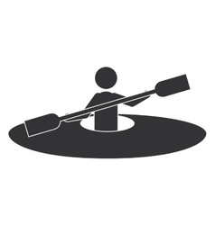 Monochrome silhouette with man and kayak rowing vector
