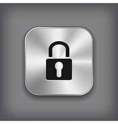 Lock icon - metal app button vector image