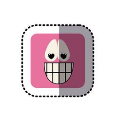 sticker square colorful shape emoticon happy in vector image