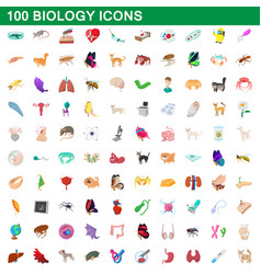 100 biology icons set cartoon style vector