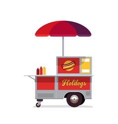 hot dog street cart fast food stand vendor vector image