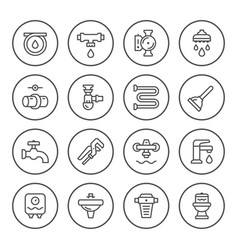 Set round line icons of plumbing vector