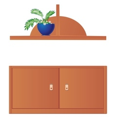 Cupboard and shelf flowerpot isolated on white vector