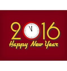 2016 Happy New Year greeting card with clock vector image