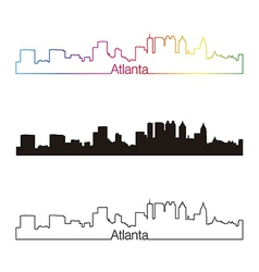 Atlanta skyline linear style with rainbow vector