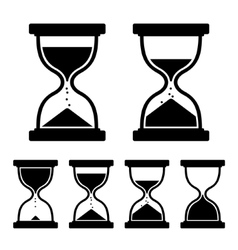 Sand glass clock icons set vector