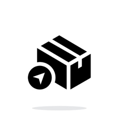 Location shipment box simple icon on white vector