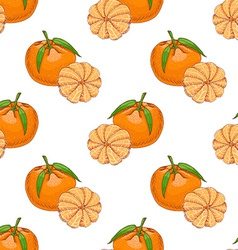 Seamless pattern with clementine vector