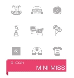 Mini miss icon set vector