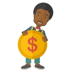 Black businessman holding a big coin vector