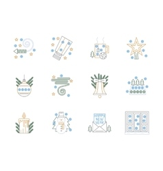 Flat color line christmas icons set vector