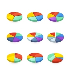Set of colorful pie diagrams on white vector
