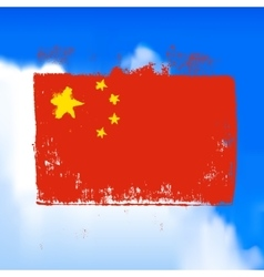 Flag of china against the sky vector