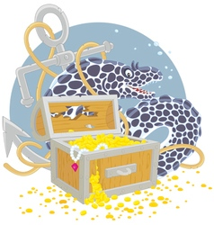 Moray and a treasure chest vector